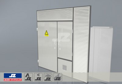Alu P-frame single door OV-cupboard and HS-42 louvers