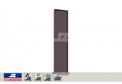 Mounting post double RAL 7016 smooth